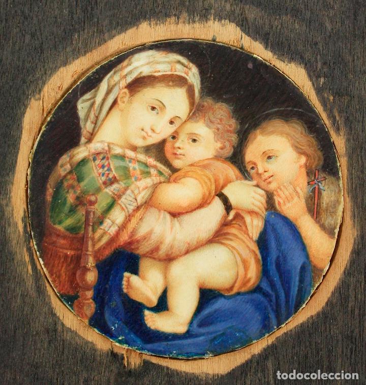 Arte: miniatura sobre marfil 6,5 cm de diámetro. Cristal: 10x11,5 cm. - Foto 2 - 210190825