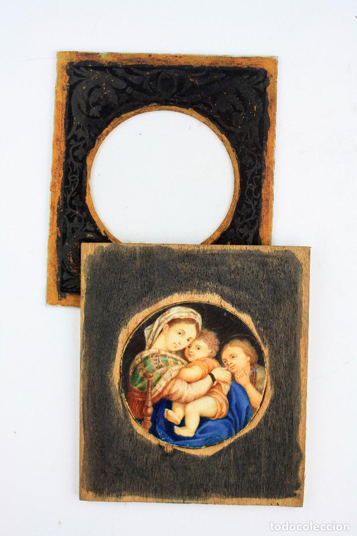 Arte: miniatura sobre marfil 6,5 cm de diámetro. Cristal: 10x11,5 cm. - Foto 3 - 210190825