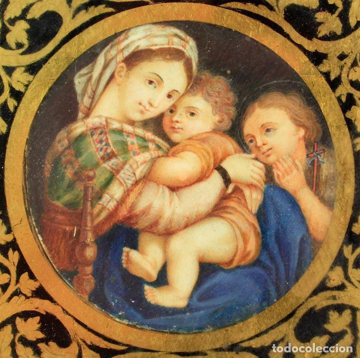 Arte: miniatura sobre marfil 6,5 cm de diámetro. Cristal: 10x11,5 cm. - Foto 5 - 210190825