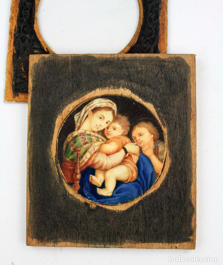Arte: miniatura sobre marfil 6,5 cm de diámetro. Cristal: 10x11,5 cm. - Foto 6 - 210190825