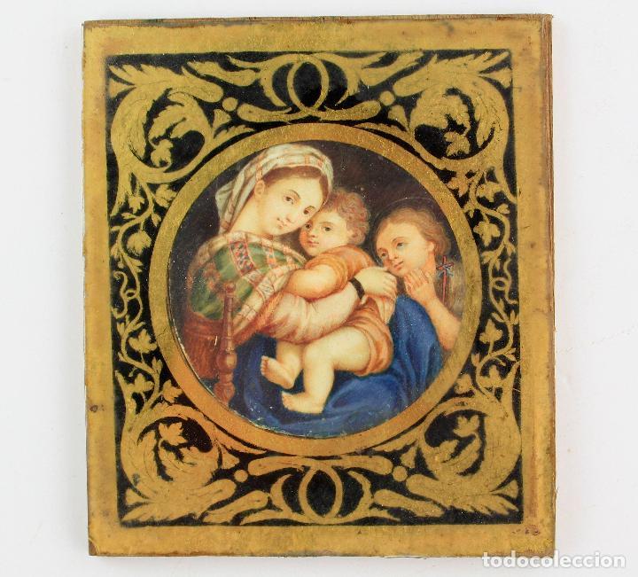 Arte: miniatura sobre marfil 6,5 cm de diámetro. Cristal: 10x11,5 cm. - Foto 7 - 210190825