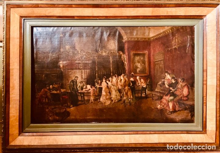 TALLER DE MARIANO FORTUNY. ESCENA DE SALON. GRANDES DIMENSIONES. (Arte - Pintura - Pintura al Óleo Antigua sin fecha definida)