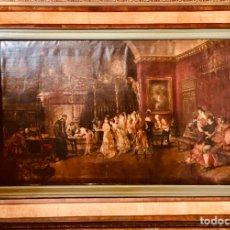 Arte: TALLER DE MARIANO FORTUNY. ESCENA DE SALON. GRANDES DIMENSIONES.. Lote 210194908