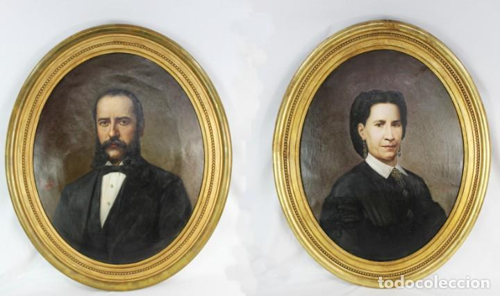 Arte: Pareja retratos Burguesía catalana. José Texidor Busquets - 1872 - Oil on canvas portraits - Foto 1 - 210197086