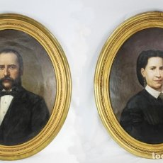 Arte: PAREJA RETRATOS BURGUESÍA CATALANA. JOSÉ TEXIDOR BUSQUETS - 1872 - OIL ON CANVAS PORTRAITS. Lote 210197086