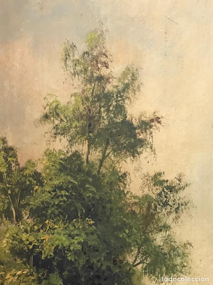 Arte: Pintura al óleo sobre tabla firmada por MERTIL con fecha en el año 1890 - Foto 7 - 210217627