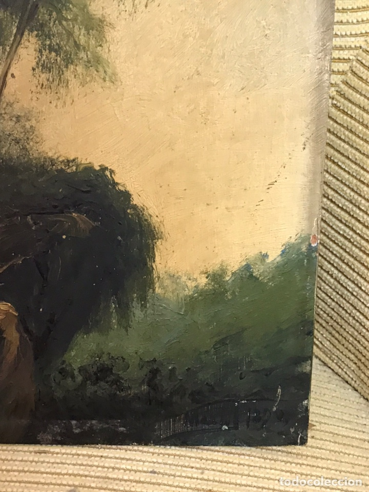 Arte: Pintura al óleo sobre tabla firmada por MERTIL con fecha en el año 1890 - Foto 8 - 210217627