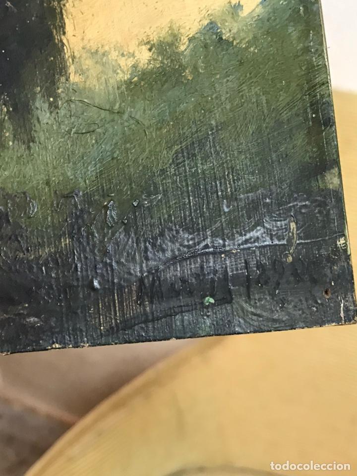 Arte: Pintura al óleo sobre tabla firmada por MERTIL con fecha en el año 1890 - Foto 13 - 210217627