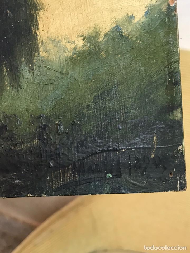 Arte: Pintura al óleo sobre tabla firmada por MERTIL con fecha en el año 1890 - Foto 14 - 210217627