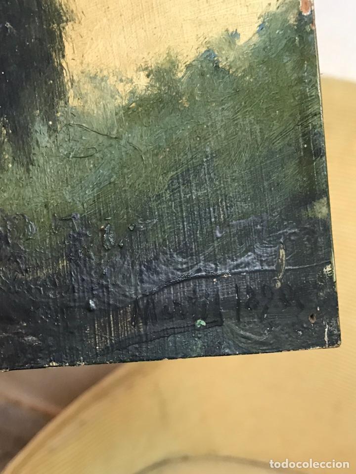 Arte: Pintura al óleo sobre tabla firmada por MERTIL con fecha en el año 1890 - Foto 15 - 210217627
