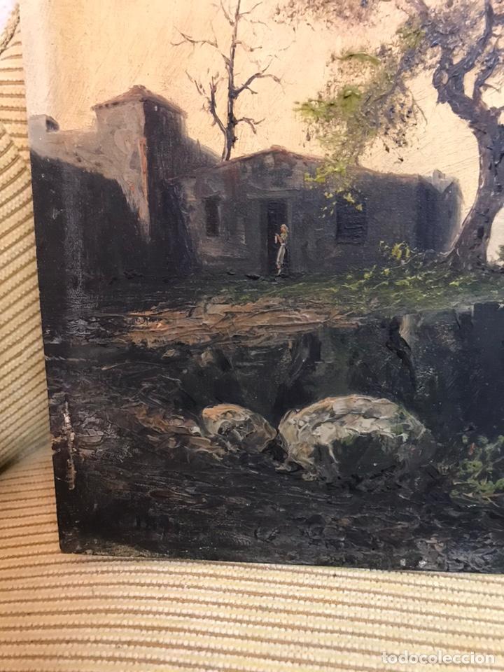 Arte: Pintura al óleo sobre tabla firmada por MERTIL con fecha en el año 1891 - Foto 7 - 210218401