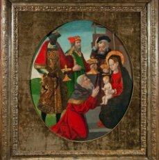 Arte: IMPRESIONANTE OLEO ADORACION DE LOS REYES MAGOS ESCUELA CATALANA 1520. Lote 210258268