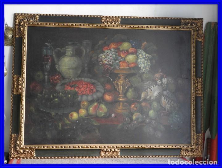 ESPECTACULAR BODEGON CON MARCO ANTIGUO DE LA EPOCA (Arte - Pintura - Pintura al Óleo Antigua sin fecha definida)
