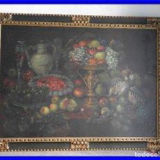 Arte: ESPECTACULAR BODEGON CON MARCO ANTIGUO DE LA EPOCA. Lote 210355376