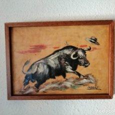 Arte: PINTURA AL OLEO *TORO* FIRMADO EDELMIRO. MEDIDAS 35 X 25 CM. Lote 210392471