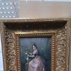 Kunst: OLEO SOBRE TABLA ANTOGUO FIRMADO( SEÑORITA) ENMARCADO. Lote 210403182