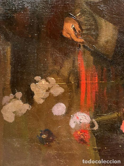 Arte: pintura al oleo sobre lienzo,atribuido a lopez mezquita,perteneciente a una conocida coleccion - Foto 3 - 210454021