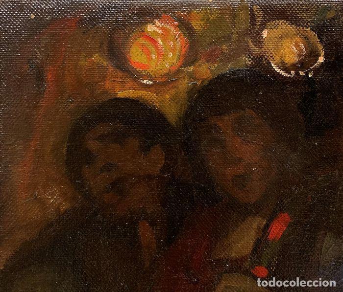 Arte: pintura al oleo sobre lienzo,atribuido a lopez mezquita,perteneciente a una conocida coleccion - Foto 5 - 210454021