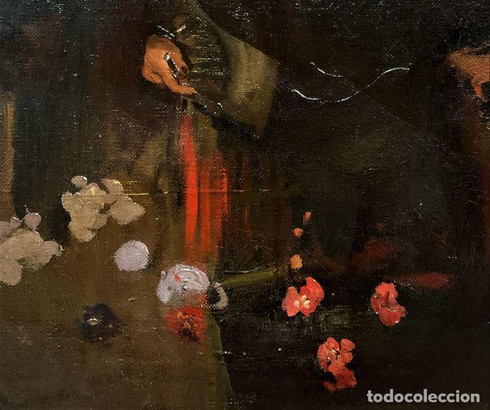 Arte: pintura al oleo sobre lienzo,atribuido a lopez mezquita,perteneciente a una conocida coleccion - Foto 7 - 210454021