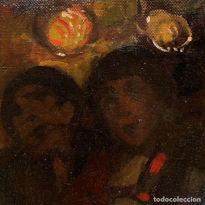 Arte: pintura al oleo sobre lienzo,atribuido a lopez mezquita,perteneciente a una conocida coleccion - Foto 9 - 210454021