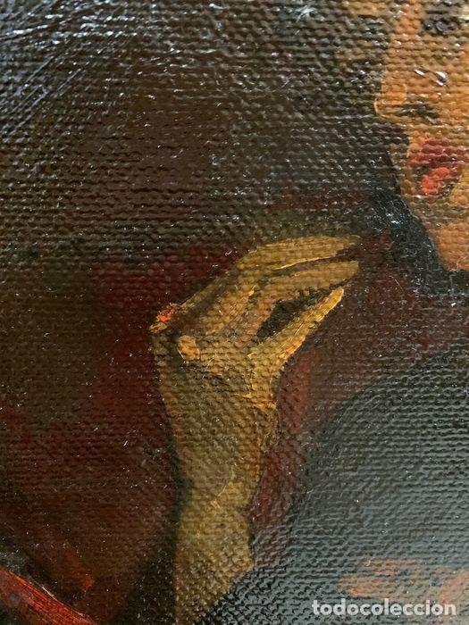 Arte: pintura al oleo sobre lienzo,atribuido a lopez mezquita,perteneciente a una conocida coleccion - Foto 10 - 210454021