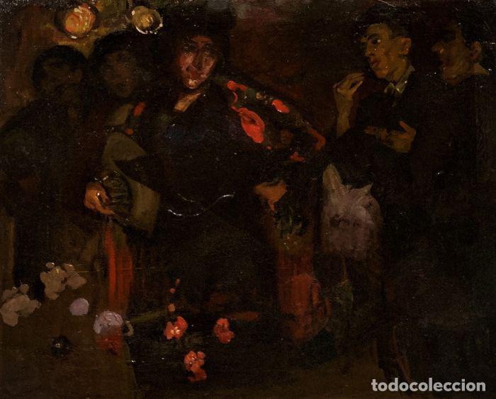 Arte: pintura al oleo sobre lienzo,atribuido a lopez mezquita,perteneciente a una conocida coleccion - Foto 2 - 210454021