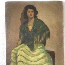 Arte: GRAN ÓLEO SOBRE CARTÓN RETRATO , SEGURAMENTE DE ERNEST SANTASUSAGNA SANTACREU.1940'S.. Lote 210549035