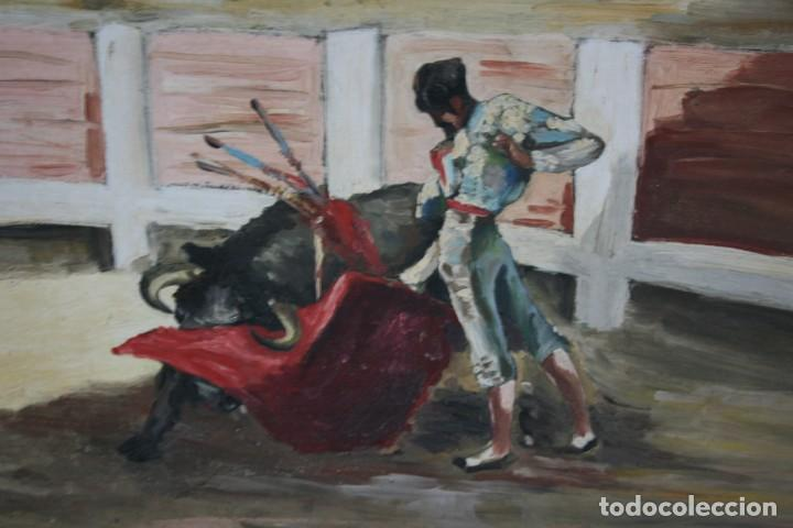 Arte: oleo sobre tabla, ilegible, tema taurino. - Foto 5 - 54810222