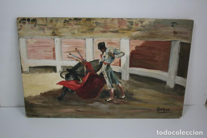 Arte: oleo sobre tabla, ilegible, tema taurino. - Foto 6 - 54810222