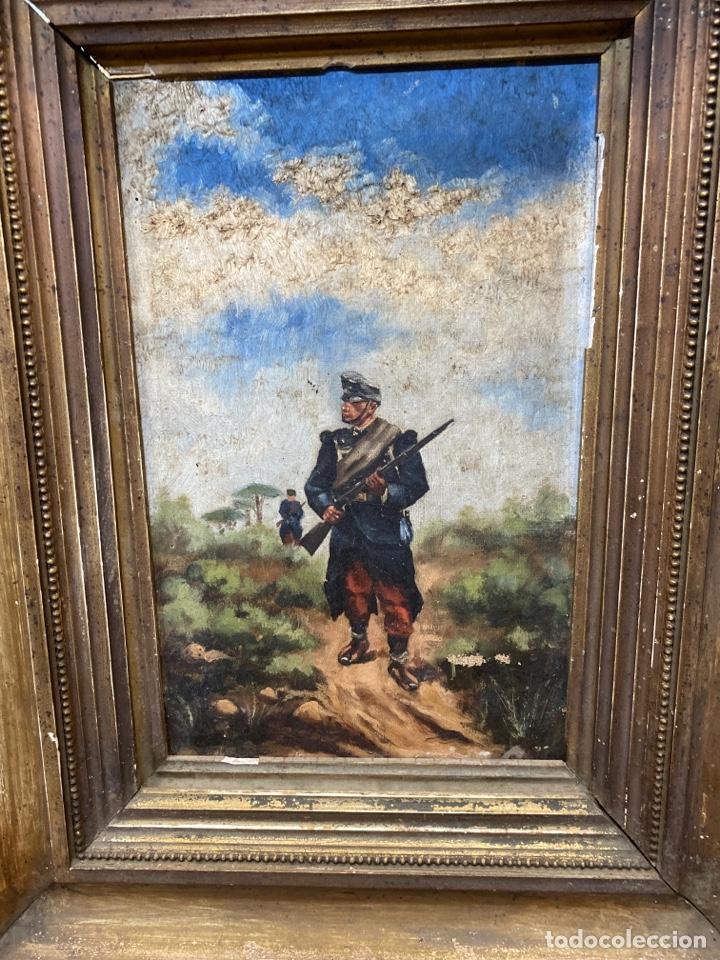 Arte: Pintura al óleo de personajes Franceses en guerra. - Foto 2 - 210591555