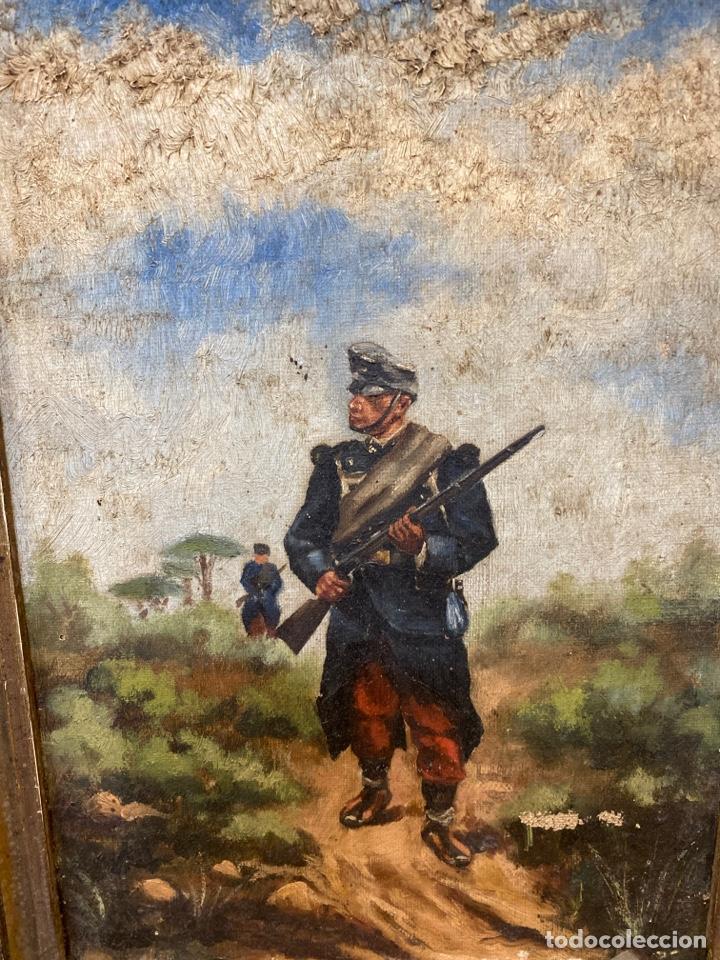 Arte: Pintura al óleo de personajes Franceses en guerra. - Foto 3 - 210591555