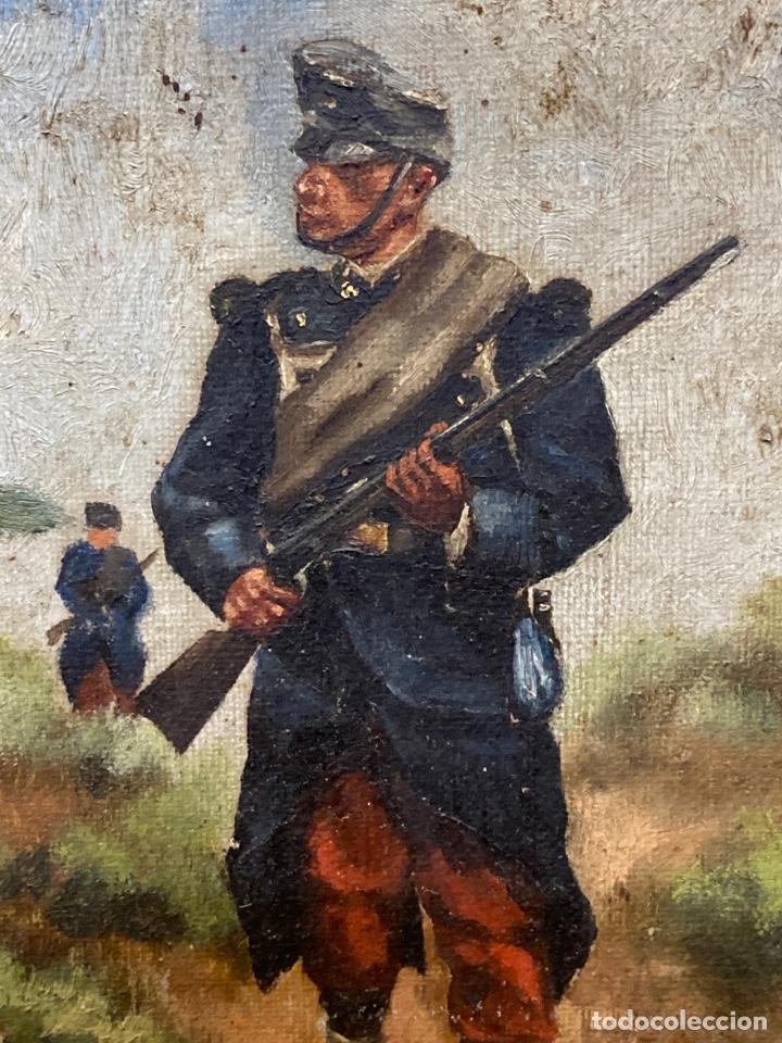 Arte: Pintura al óleo de personajes Franceses en guerra. - Foto 4 - 210591555