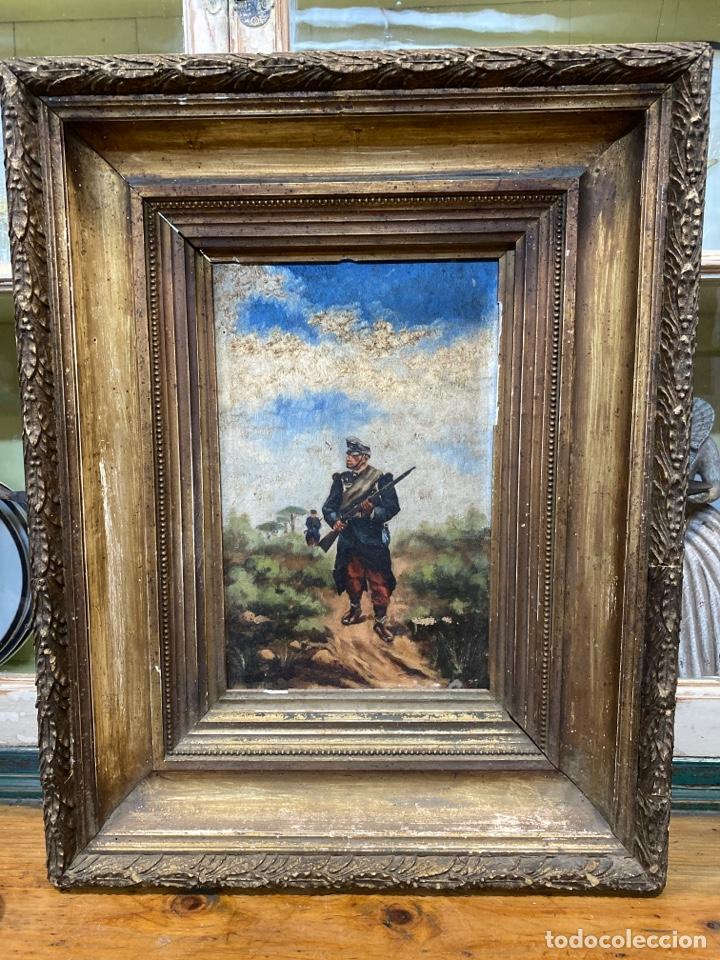 PINTURA AL ÓLEO DE PERSONAJES FRANCESES EN GUERRA. (Arte - Pintura - Pintura al Óleo Antigua siglo XVIII)