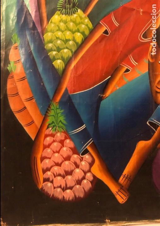 Arte: LAURENT CASIMIR, ÓLEO SOBRE LIENZO. FIGURAS HAITIANAS. 76 x 101 Cms. - Foto 3 - 210614592
