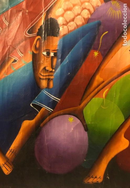 Arte: LAURENT CASIMIR, ÓLEO SOBRE LIENZO. FIGURAS HAITIANAS. 76 x 101 Cms. - Foto 5 - 210614592