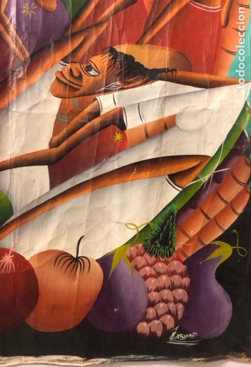Arte: LAURENT CASIMIR, ÓLEO SOBRE LIENZO. FIGURAS HAITIANAS. 76 x 101 Cms. - Foto 7 - 210614592