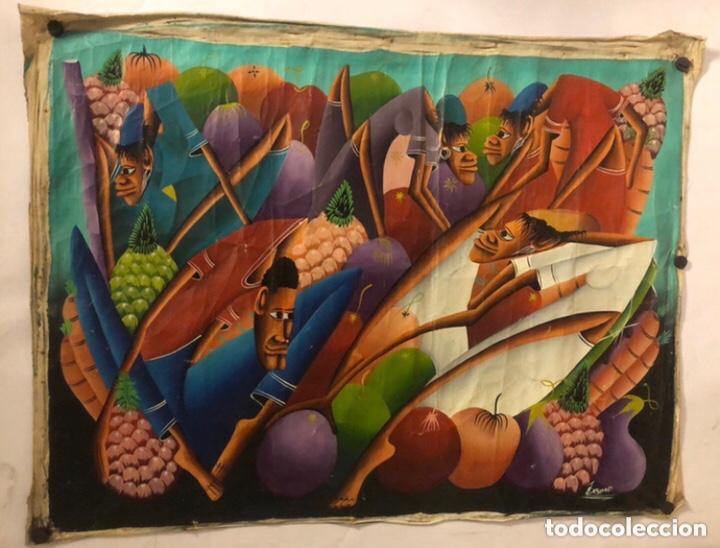 LAURENT CASIMIR, ÓLEO SOBRE LIENZO. FIGURAS HAITIANAS. 76 X 101 CMS. (Arte - Pintura - Pintura al Óleo Contemporánea )