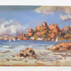 Arte: BONITO APUNTE, PAISAJE COSTERO CON BARCAS, PINTURA AL ÓLEO SOBRE MADERA, FIRMA ILEGIBLE. 15X10,5CM. Lote 210729880
