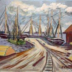 Arte: AUTORIA DESCONOCIDA. OLEO SOBRE TABLEX FECHADO DEL AÑO 1949. EMBARCADERO. Lote 210768044