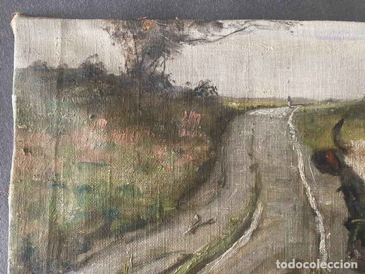 Arte: óleo sobre lienzo . obra firmada a documentar de 1950 aproximadamente. tema rural - Foto 2 - 195976385