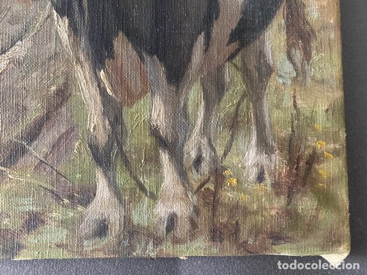 Arte: óleo sobre lienzo . obra firmada a documentar de 1950 aproximadamente. tema rural - Foto 4 - 195976385