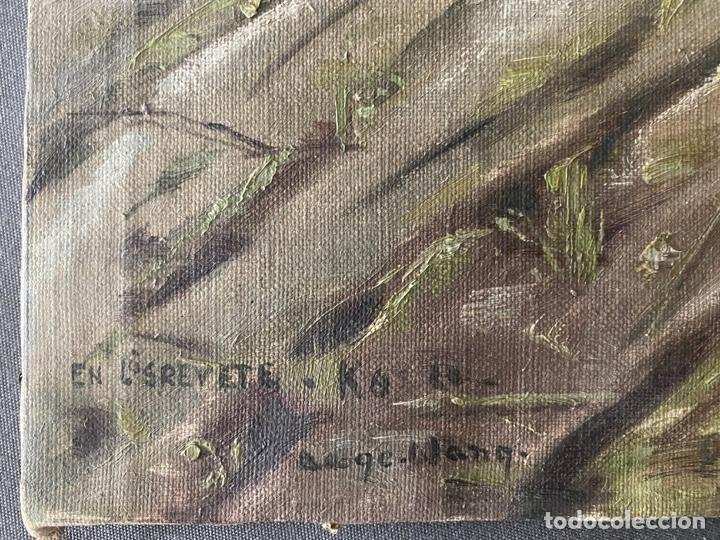 Arte: óleo sobre lienzo . obra firmada a documentar de 1950 aproximadamente. tema rural - Foto 5 - 195976385