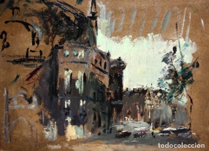 ANONIMO DE LOS AÑOS 40. OLEO SOBRE CARTON. VISTA DE UNA CATEDRAL (Arte - Pintura - Pintura al Óleo Contemporánea )