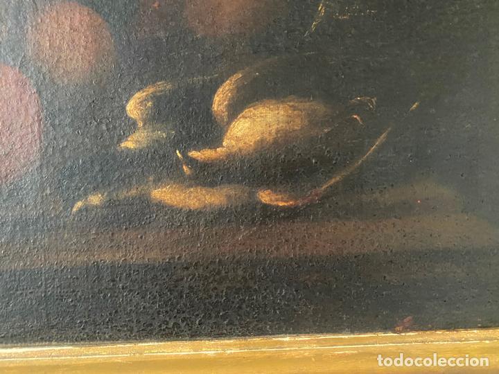 Arte: bodegon del S. XVII , escuela española , sandía , uvas , pájaro - Foto 2 - 210782850