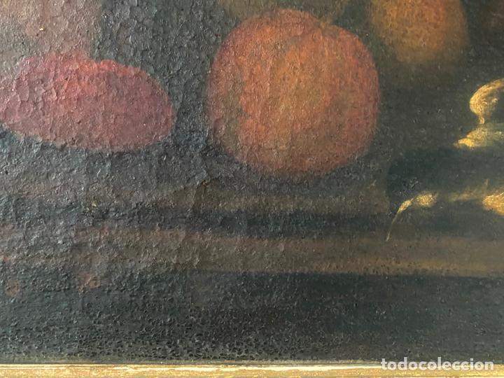 Arte: bodegon del S. XVII , escuela española , sandía , uvas , pájaro - Foto 7 - 210782850