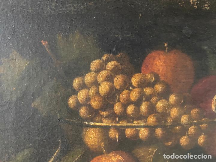 Arte: bodegon del S. XVII , escuela española , sandía , uvas , pájaro - Foto 9 - 210782850