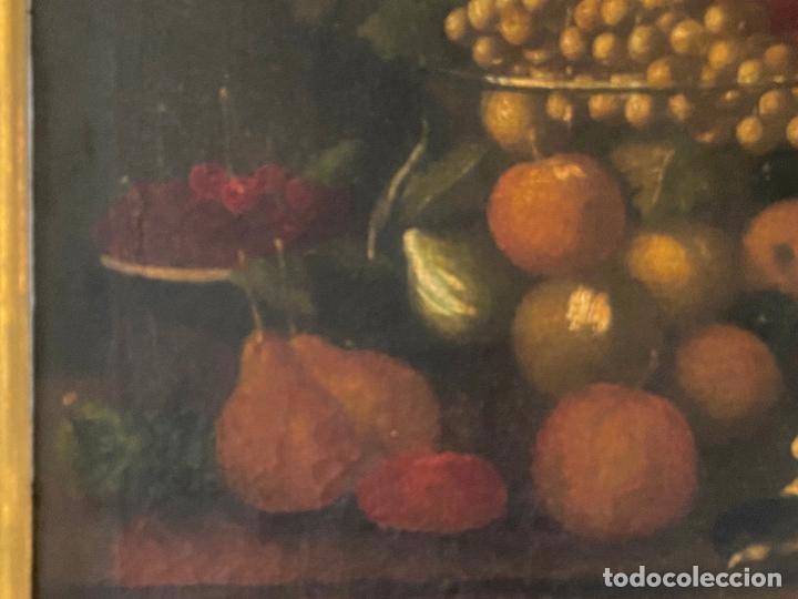 Arte: bodegon del S. XVII , escuela española , sandía , uvas , pájaro - Foto 11 - 210782850