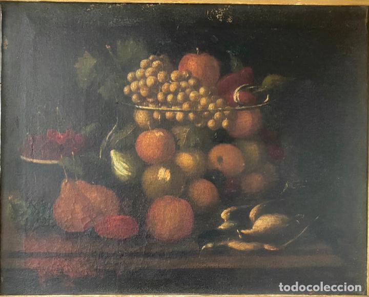 Arte: bodegon del S. XVII , escuela española , sandía , uvas , pájaro - Foto 12 - 210782850