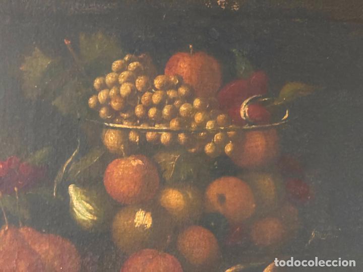 Arte: bodegon del S. XVII , escuela española , sandía , uvas , pájaro - Foto 13 - 210782850
