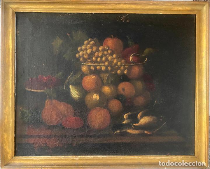 Arte: bodegon del S. XVII , escuela española , sandía , uvas , pájaro - Foto 15 - 210782850
